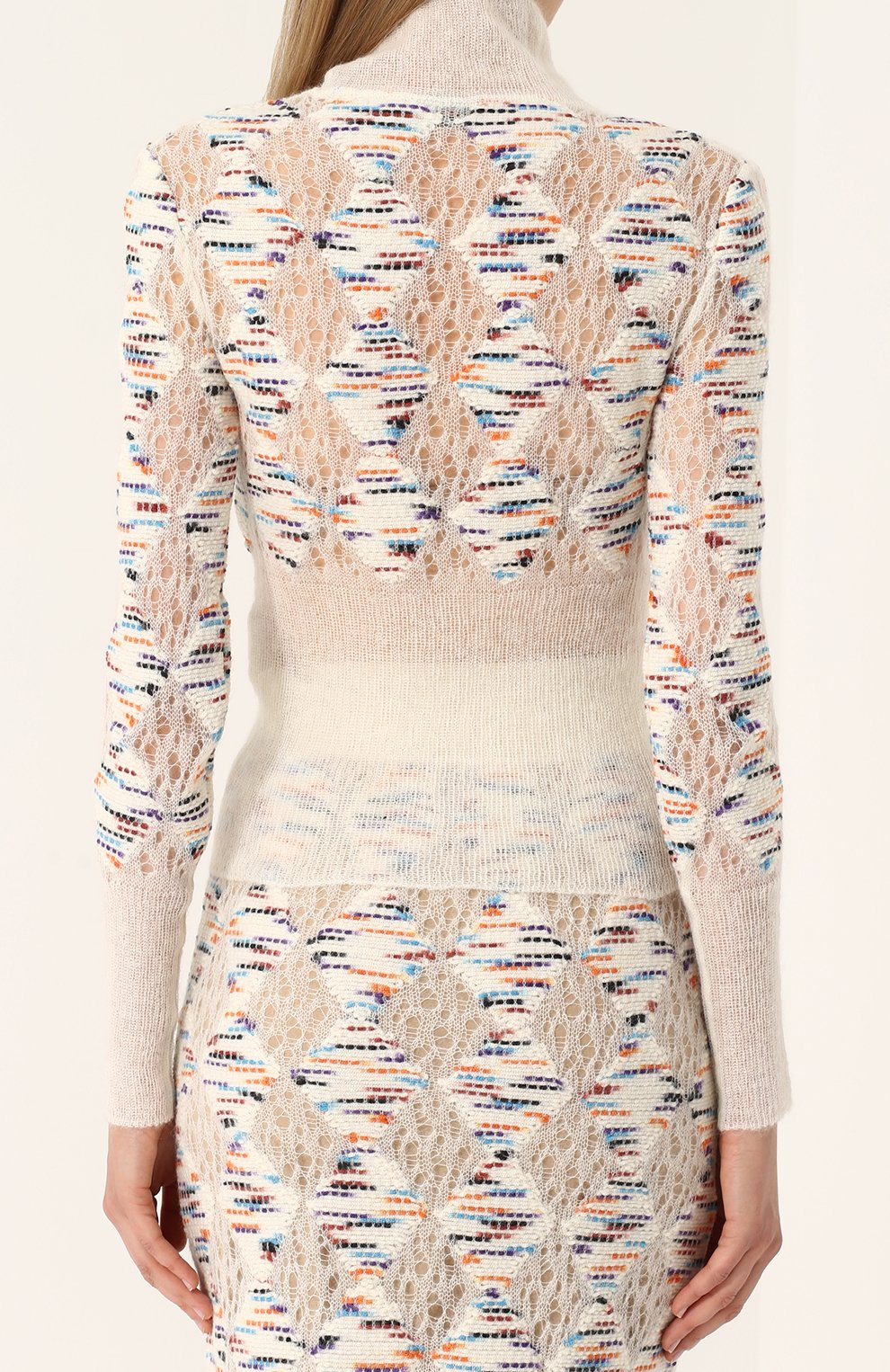 Приталенный шерстяной свитер с высоким вырезом | Фото №4