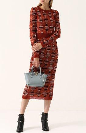 Удлиненный приталенный пуловер с круглым вырезом Missoni оранжевый | Фото №1