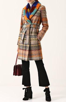 Буклированное пальто с поясом и отделкой из меха норки Missoni оранжевого цвета   Фото №1