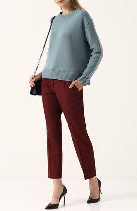 Кашемировый пуловер свободного кроя с круглым вырезом Vince голубой | Фото №1