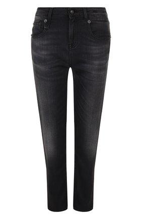 Укороченные джинсы прямого кроя с потертостями R13 черные   Фото №1