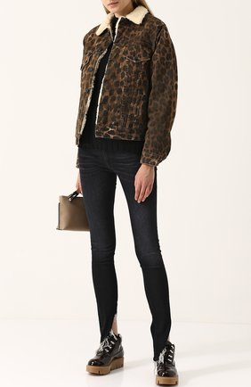 Утепленная джинсовая куртка с леопардовым принтом R13 леопардовая   Фото №1