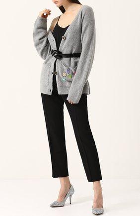 Кашемировый кардиган свободного кроя с карманами Natasha Zinko серый   Фото №1