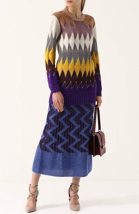 Вязаная юбка-миди с широким поясом Missoni серая | Фото №1