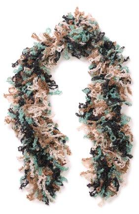 Вязаный шарф из смеси шерсти и мохера Missoni кремовый   Фото №1