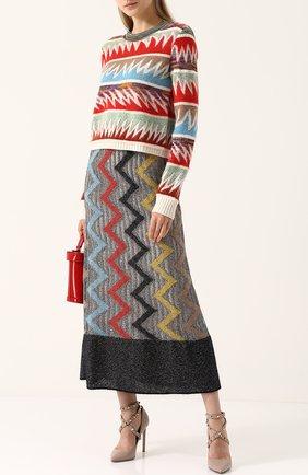 Вязаный пуловер с круглым вырезом Missoni разноцветный | Фото №1