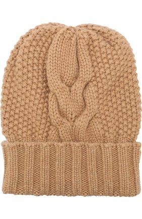 Кашемировая шапка фактурной вязки Kashja` Cashmere темно-бежевого цвета   Фото №1