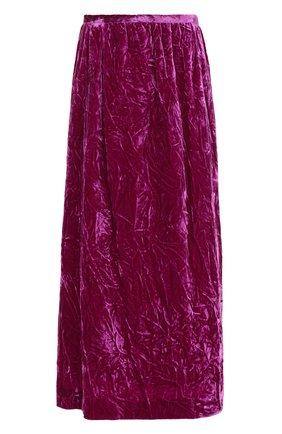 Бархатная однотонная юбка-миди | Фото №1