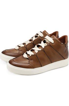 Мужские кожаные кеды на шнуровке ZEGNA COUTURE светло-коричневого цвета, арт. A2891X-MFS | Фото 1