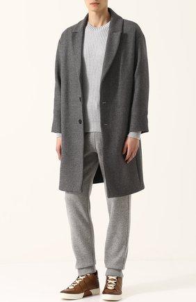 Кожаные кеды на шнуровке Zegna Couture светло-коричневые | Фото №1