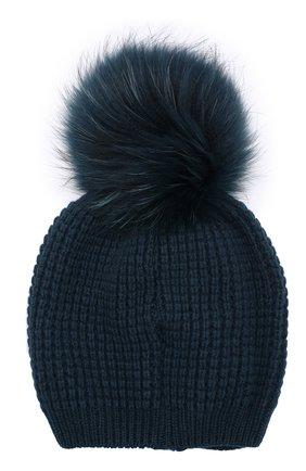 Кашемировая шапка фактурной вязки с меховым помпоном Kashja` Cashmere темно-серого цвета   Фото №1