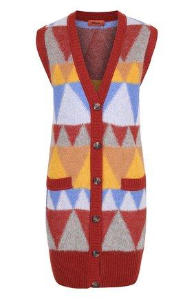 Вязаный жилет прямого кроя с ярким принтом Missoni разноцветный | Фото №1