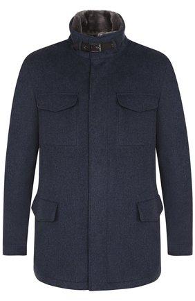 Кашемировая куртка на молнии с меховой подкладкой | Фото №1