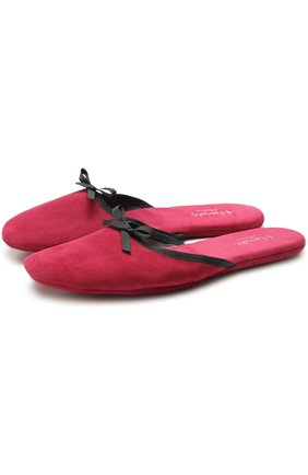 Домашние туфли из замши с бантом Homers At Home красные | Фото №1