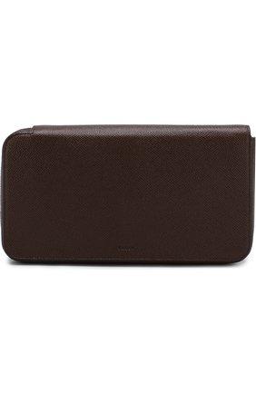 Кожаный футляр для документов с отделениями для кредитных карт Bally коричневого цвета   Фото №1