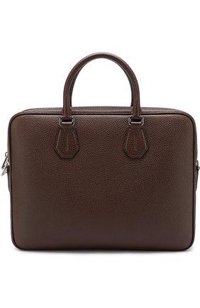 Кожаная сумка для ноутбука Bally темно-синяя   Фото №1