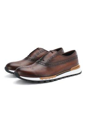 Мужские кожаные кроссовки BERLUTI коричневого цвета, арт. S3873-008 | Фото 1