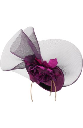 Соломенная шляпа с декором в виде цветка и сеточкой | Фото №1