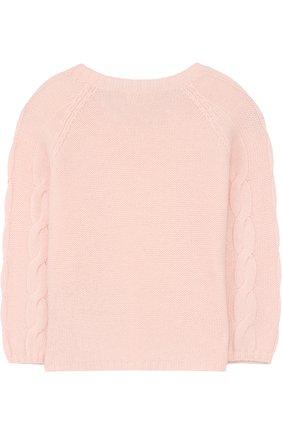 Детский кашемировый пуловер с фактурным узором LORO PIANA розового цвета, арт. FAG3833 | Фото 2
