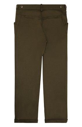 Детские шерстяные брюки прямого кроя с отворотами LORO PIANA хаки цвета, арт. FAG3705   Фото 2 (Материал внешний: Шерсть; Статус проверки: Проверено)