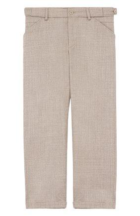 Шерстяные брюки прямого кроя с отворотами   Фото №1