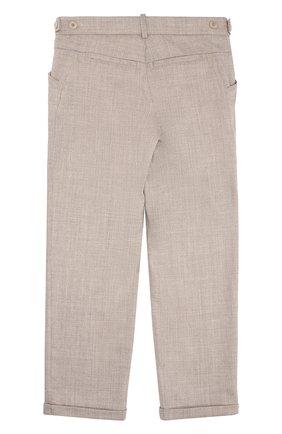 Шерстяные брюки прямого кроя с отворотами   Фото №2