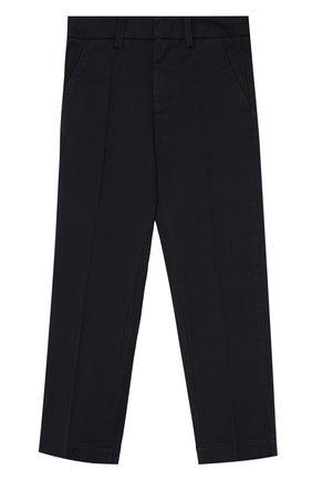 Детские хлопковые брюки прямого кроя Moncler Enfant темно-синего цвета | Фото №1