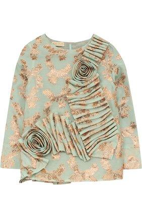 Блуза с металлизированным принтом и фактурным декором | Фото №1