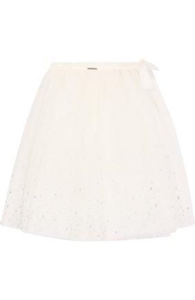 Многослойная юбка со стразами и бантом | Фото №1