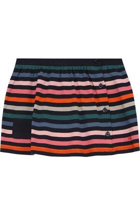 Хлопковая мини-юбка в контрастную полоску на пуговицах | Фото №1