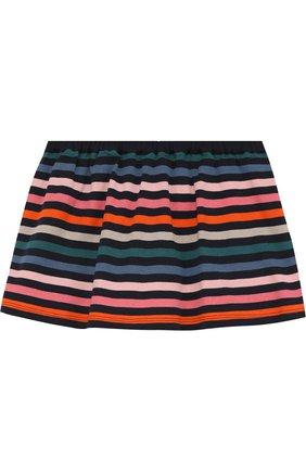 Хлопковая мини-юбка в контрастную полоску на пуговицах | Фото №2