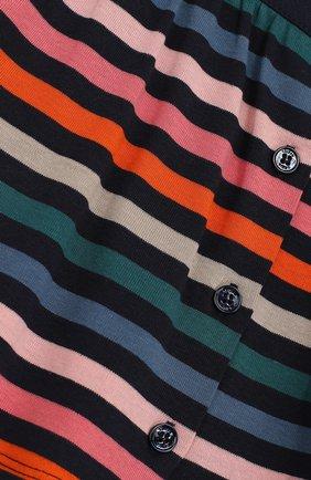 Хлопковая мини-юбка в контрастную полоску на пуговицах | Фото №3