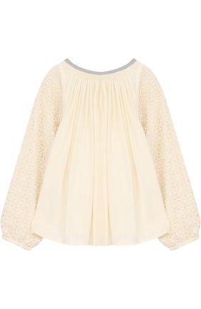 Блуза свободного кроя с кружевной отделкой на рукавах | Фото №1