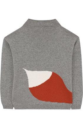 Детский кашемировый свитер с принтом LORO PIANA серого цвета, арт. FAG4688 | Фото 2