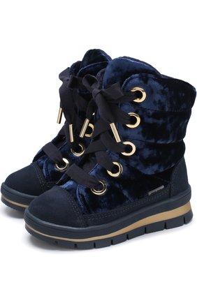 Детские ботинки с текстильной отделкой на шнуровке Jog Dog синего цвета | Фото №1