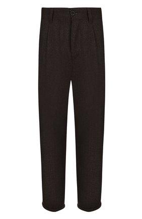 Шерстяные укороченные брюки прямого кроя PT01 темно-серые | Фото №1