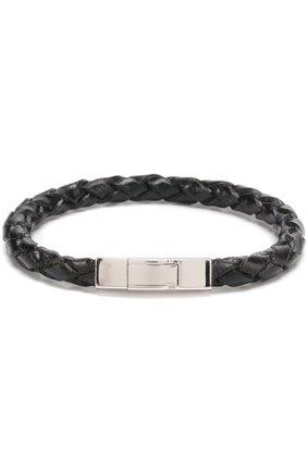 Мужской плетеный кожаный браслет TATEOSSIAN черного цвета, арт. BR-3814 | Фото 1