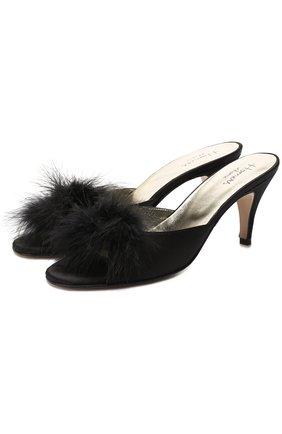Атласные домашние туфли Homers At Home черные | Фото №1