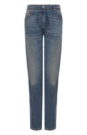 Женские джинсы прямого кроя с потертостями VALENTINO синего цвета, арт. NB3DE00T/48G   Фото 1