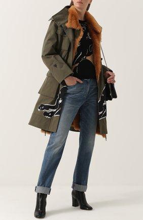 Женские джинсы прямого кроя с потертостями VALENTINO синего цвета, арт. NB3DE00T/48G   Фото 2