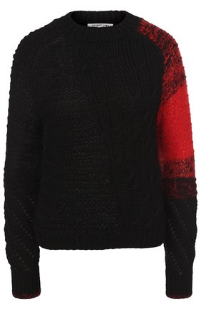 Шерстяной свитер фактурной вязки с круглым вырезом | Фото №1