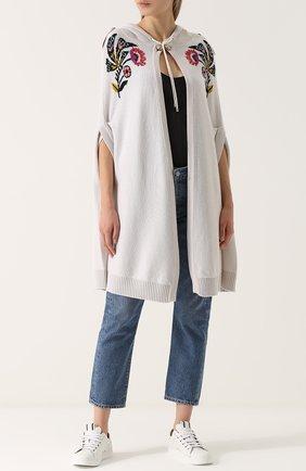 Кашемировая накидка с капюшоном Barrie белая | Фото №1