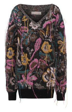 Пуловер фактурной вязки с V-образным вырезом | Фото №1