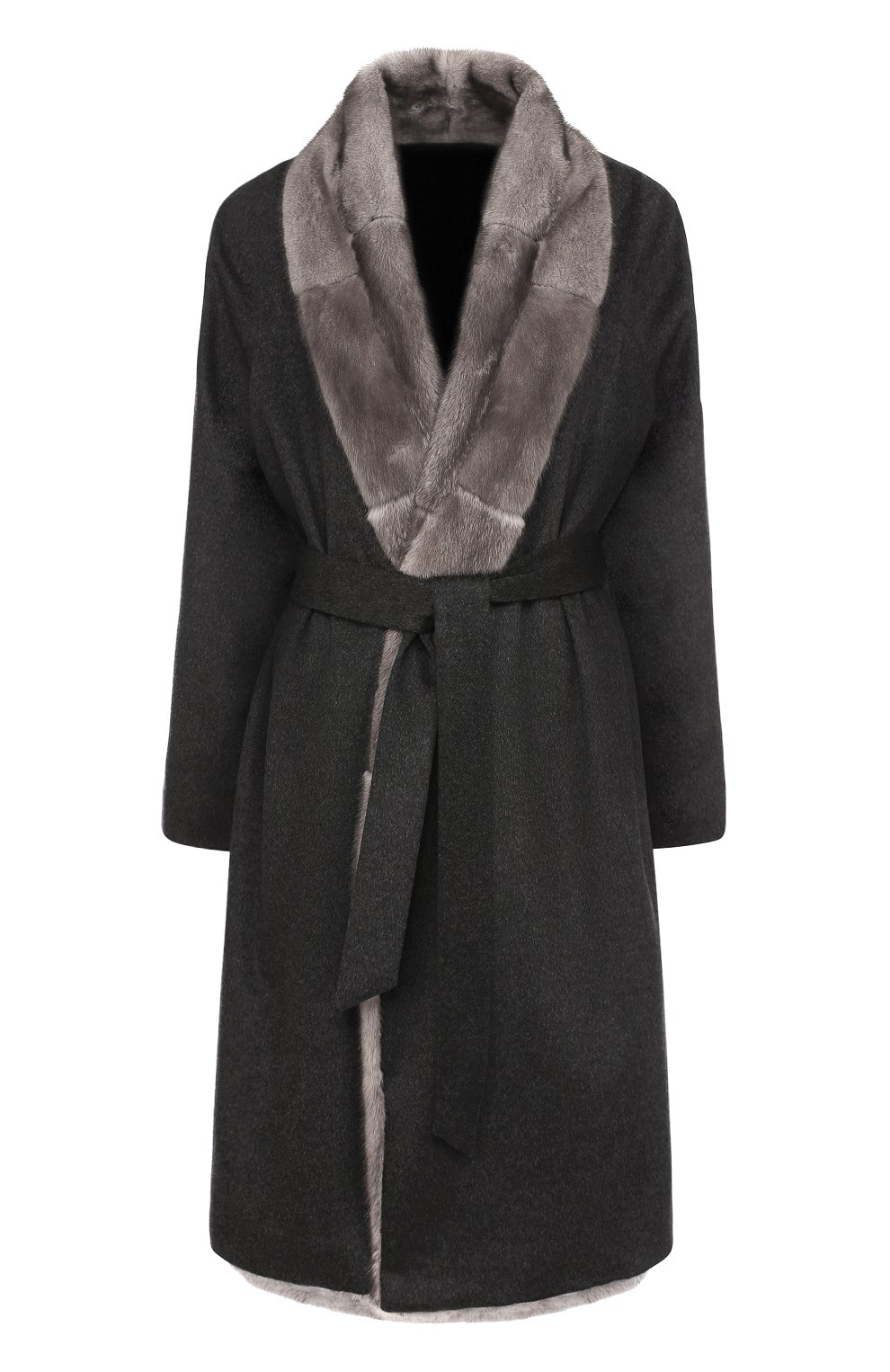 Кашемировое пальто с отделкой из меха норки и поясом Kiton темно-серого  цвета  301f0dbb4b870