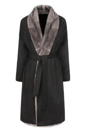 Кашемировое пальто с отделкой из меха норки и поясом | Фото №1