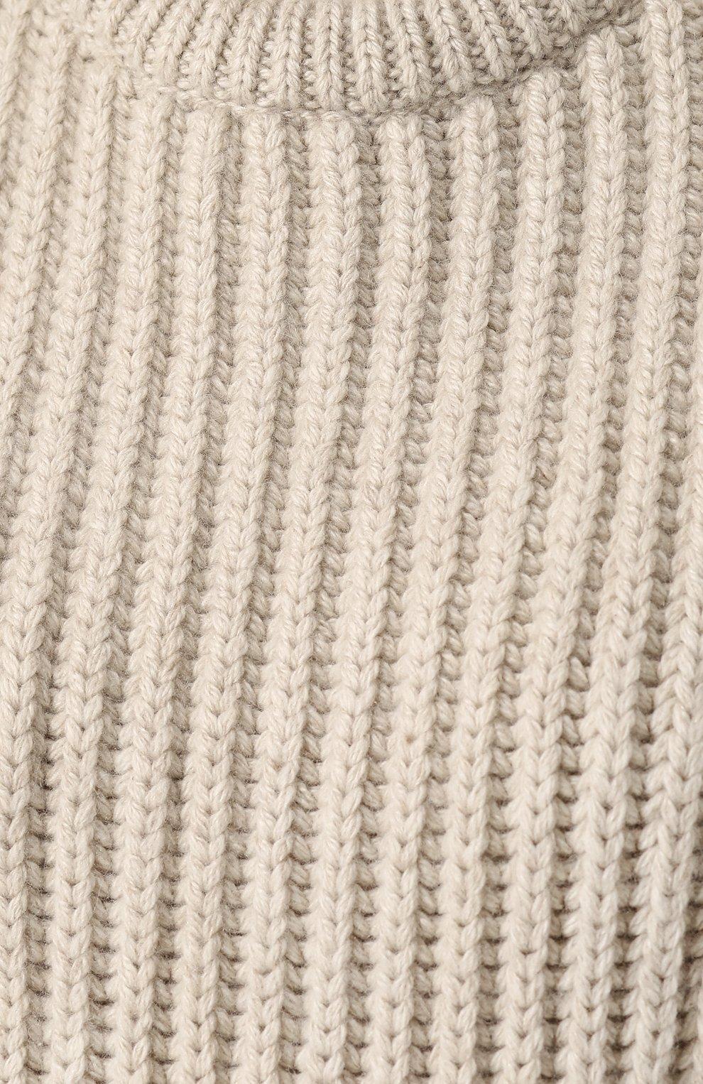 Женский однотонный кашемировый жилет LORO PIANA бежевого цвета, арт. FAG4387   Фото 5
