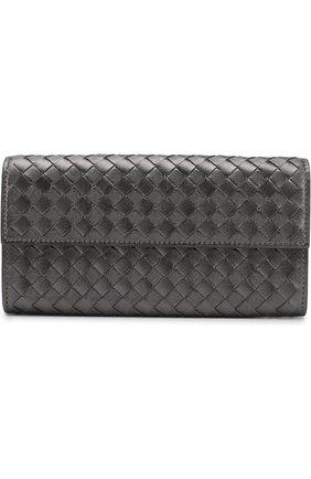 Кожаное портмоне с плетением intrecciato на молнии | Фото №1