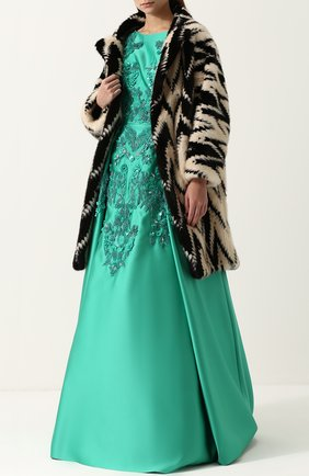Приталенное платье-макси с декоративной отделкой Zuhair Murad зеленое | Фото №1