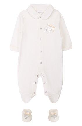 Хлопковая пижама с пинетками   Фото №1