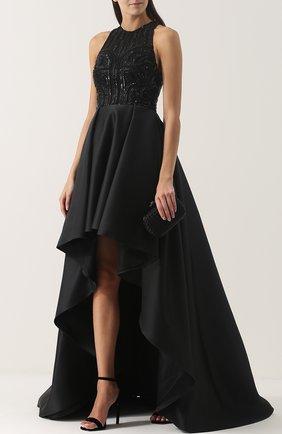 Приталенное платье-макси асимметричного кроя Zuhair Murad черное | Фото №1